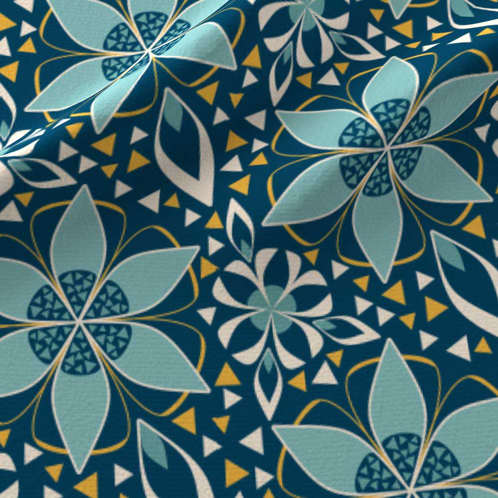 fabric amp wallpaper art deco floral in teal and blue