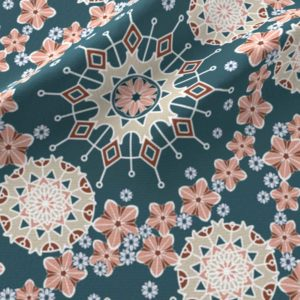 Large mandalas in blue and peach