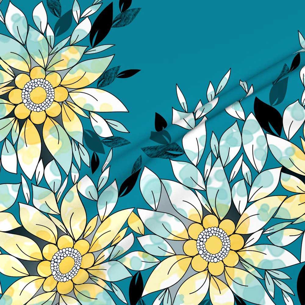 Large watercolor and ink border of flowers and leaves in blue and yellow