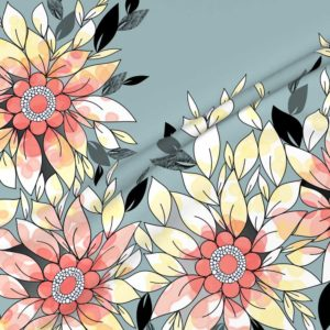 Fabric & Wallpaper: Large Watercolor Flowers in Blue, Peach