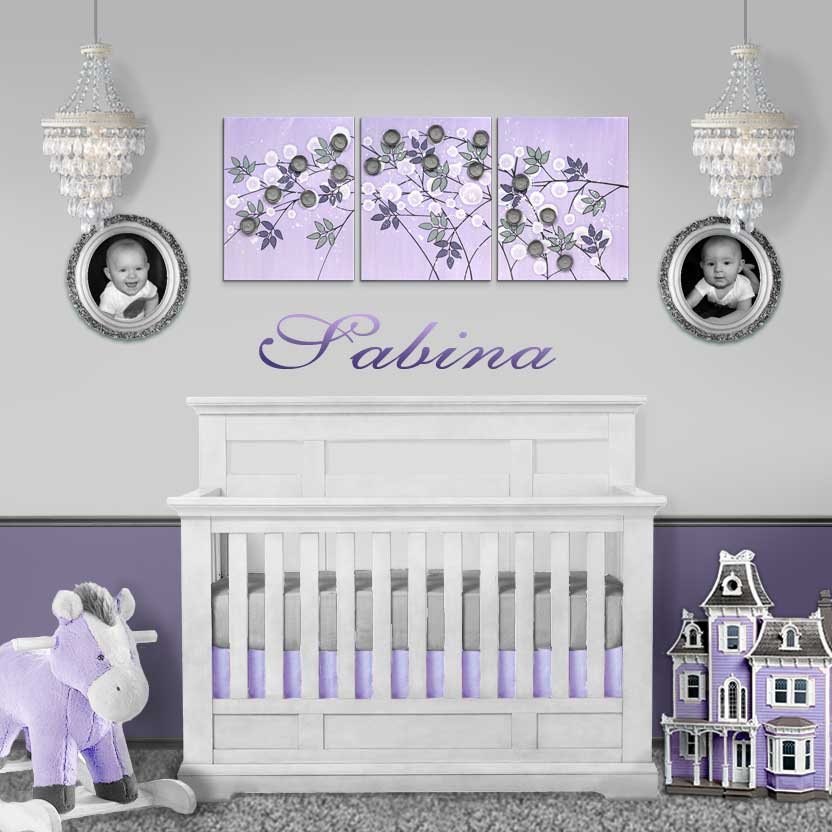 Setting view of nursery art flowers in lilac an gray