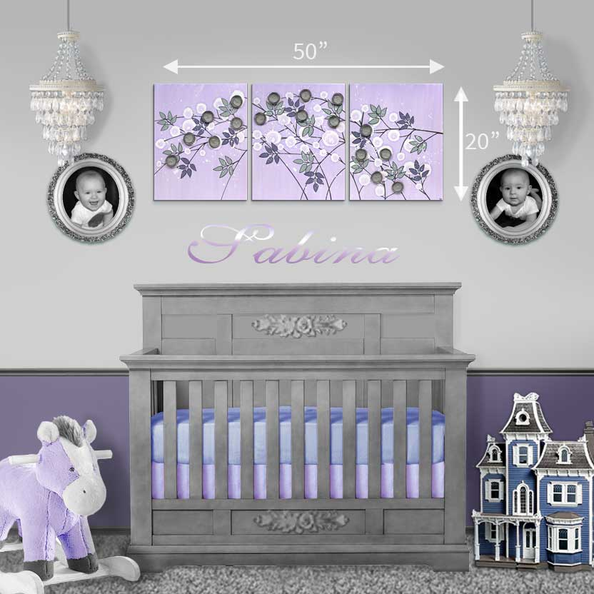 Size guide for nursery art flowers in lilac an gray