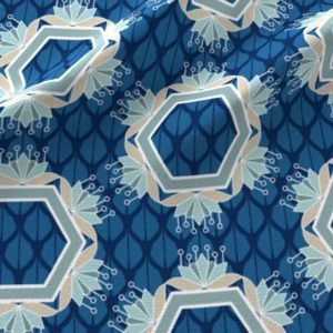 Lotus hexagons in blue and aqua