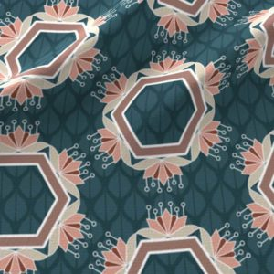 Lotus hexagons in blue and peach