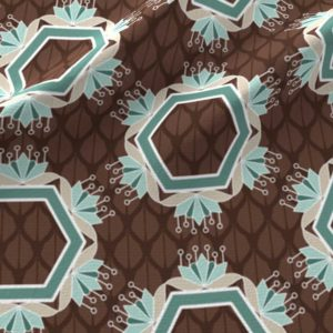Lotus hexagons in brown and green