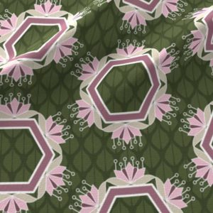 Lotus hexagons in green and pink