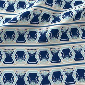 Lotus hexagon stripes in blue and aqua