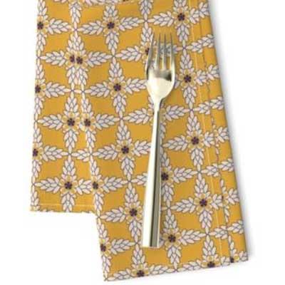 Napkins in art deco yellow ochre pattern
