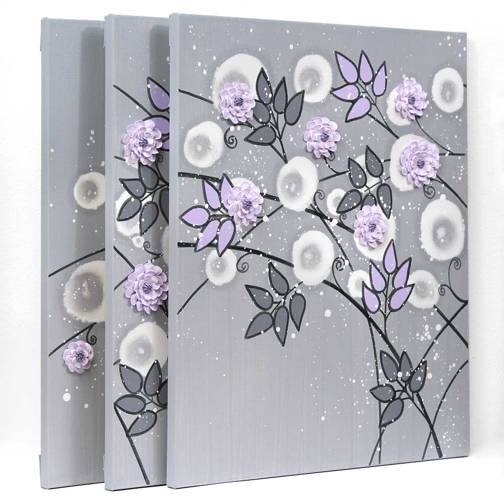 Side view of gray and lilac nursery art climbing flowers