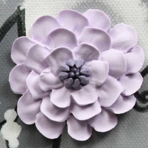 Lilac and Gray Nursery Art Canvas Painting of Flowers – Large