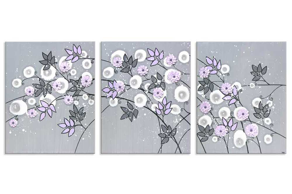 Gray and lilac nursery art climbing flowers