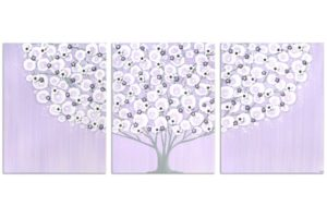 Girl's Nursery Art on Canvas, Tree Lilac and Gray – Large