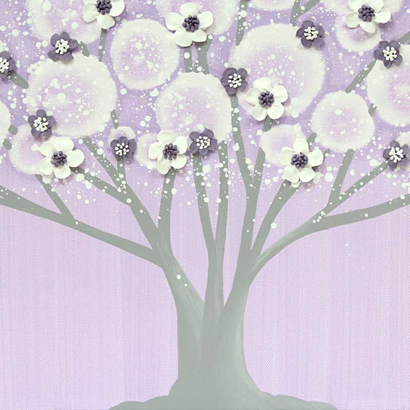 Center view of girl's nursery art large tree on canvas in lilac and gray
