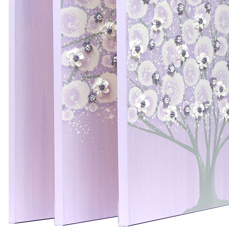 Side view of girl's nursery art large tree on canvas in lilac and gray