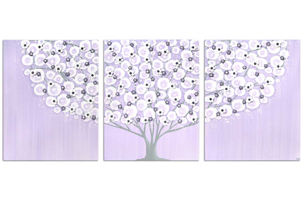 Girl's nursery art large tree on canvas in lilac and gray