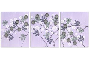Nursery art flowers in lilac an gray