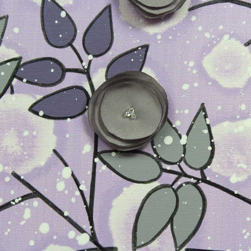 Details of nursery art flowers in lilac an gray