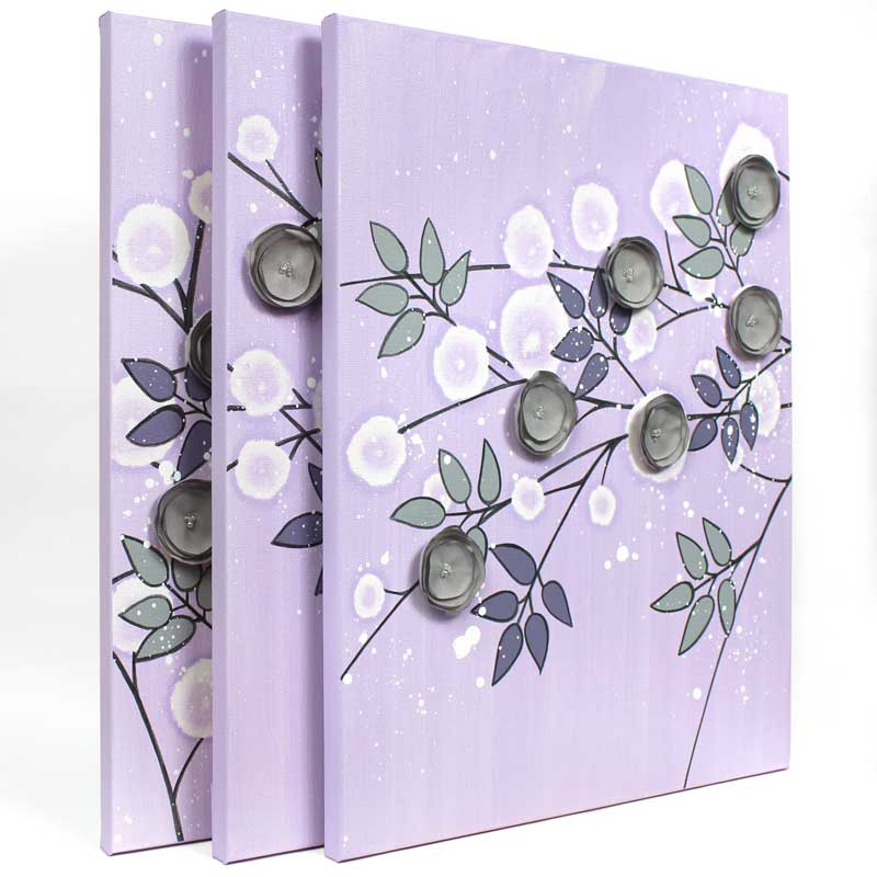 Side view of nursery art flowers in lilac an gray
