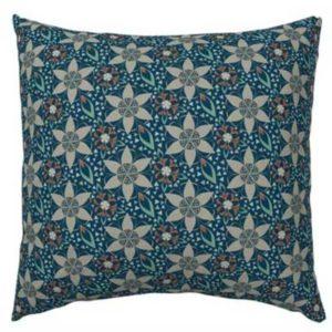 Fabric & Wallpaper: Art Deco Star Flowers in Orange, Blue