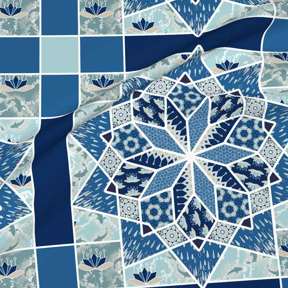 Star quilt with lotus blossoms in blue and aqua