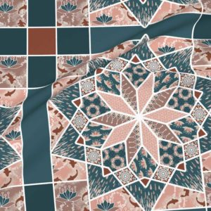 Star quilt with lotus blossoms in blue and peach