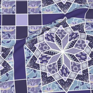 Star quilt with lotus blossoms in violet purple