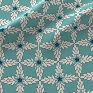 Diamond pattern of teal and khaki leaves