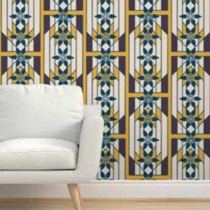 Fabric & Wallpaper: Art Deco Windowpane in Yellow, Plum