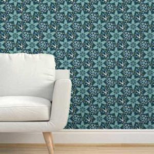Fabric & Wallpaper: Art Deco Floral in Teal and Blue