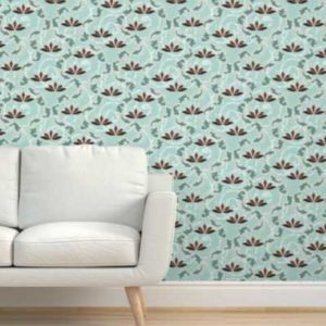 Fabric & Wallpaper: Lotus Blossom Koi Pond in Mint Green