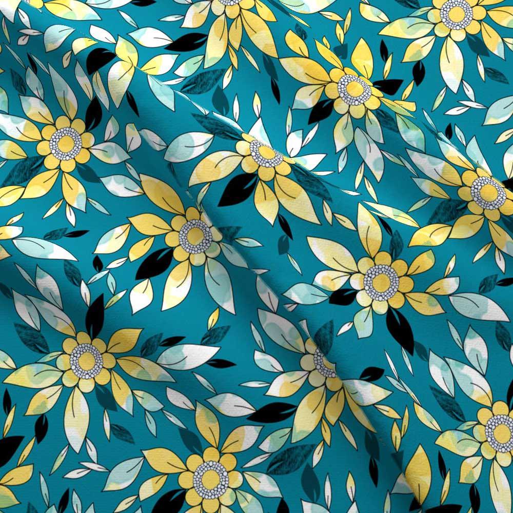 Fabric Wallpaper Watercolor Flowers In Blue Yellow Amborela
