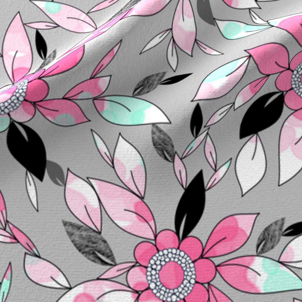 Watercolor and ink print of flowers and leaves in pink, mint, and gray