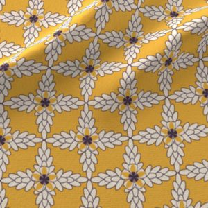 Fabric & Wallpaper: Art Deco Diamond Floral in Yellow