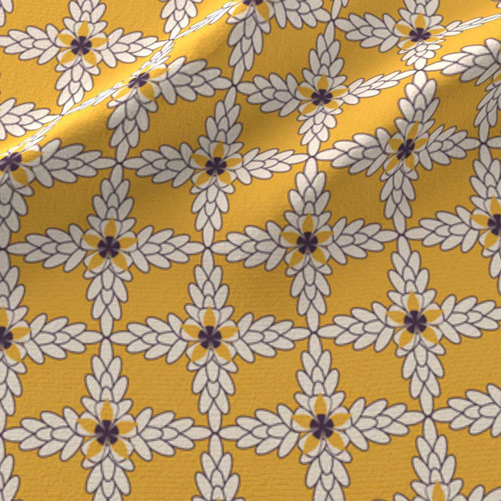Yellow diamond floral leaf print in golden yellow