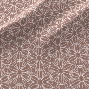 Geometric flowers in peach and white