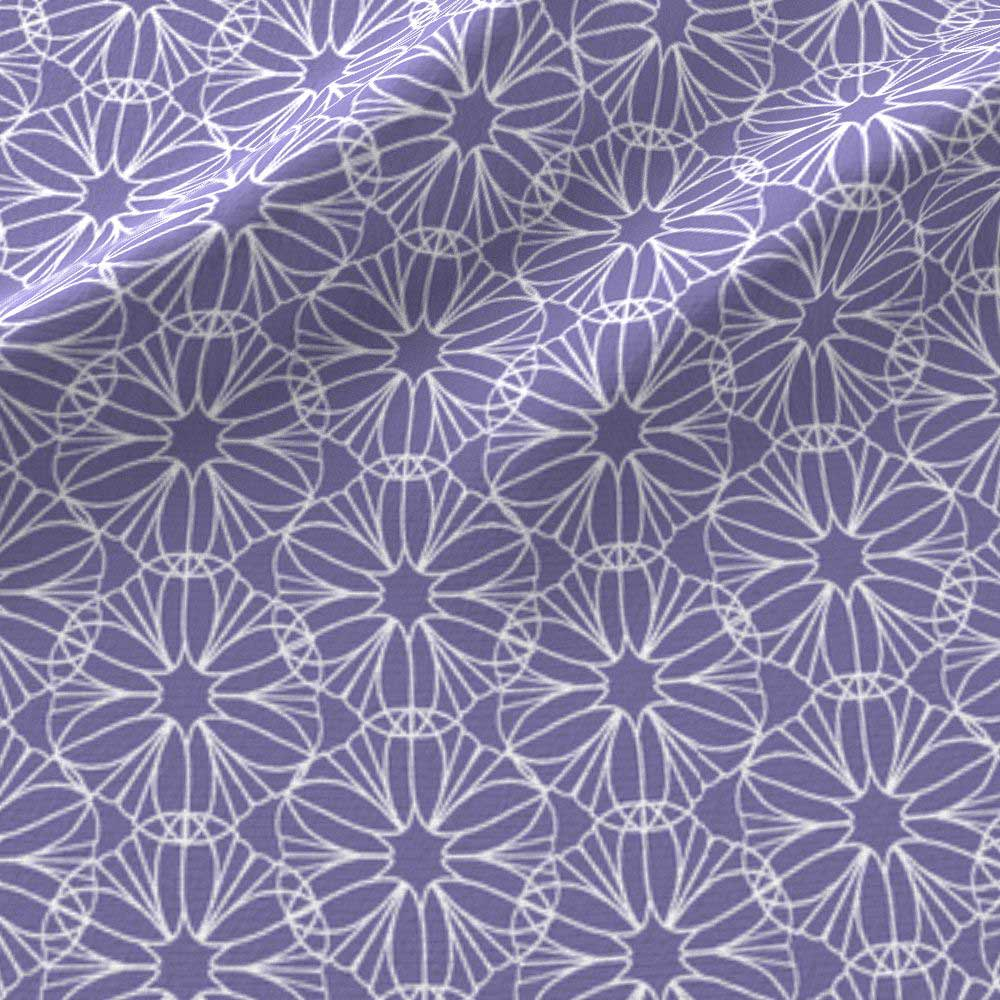 Geometric flowers in violet and white