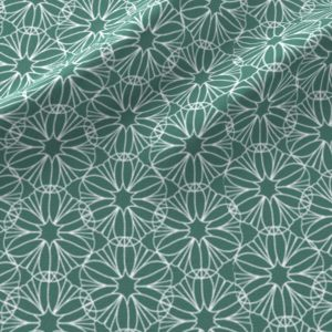 Geometric flowers in teal and white