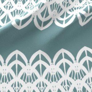 White lace border in aqua