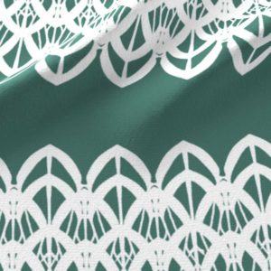 White lace border in mint green