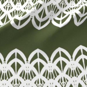 White lace border in olive green and white