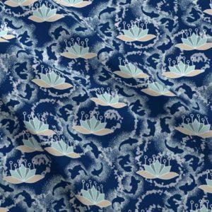 Lotus koi pond in blue and aqua