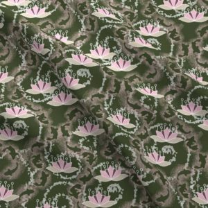 Lotus koi pond in green and pink