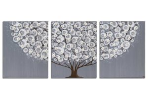 Canvas Wall Art Tree Painting Gray and White | Large – Extra Large