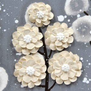 Canvas Wall Art Flower Painting in Neutral Gray, Brown – Small