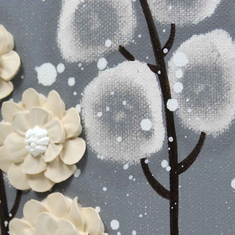 Details of wall art feather gray and khaki wildflower