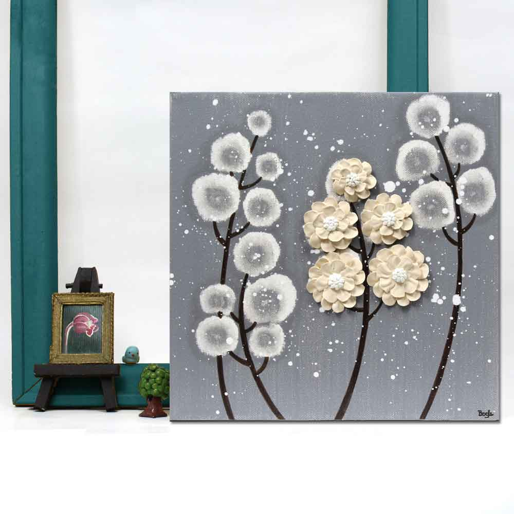Setting view of wall art feather gray and khaki wildflower