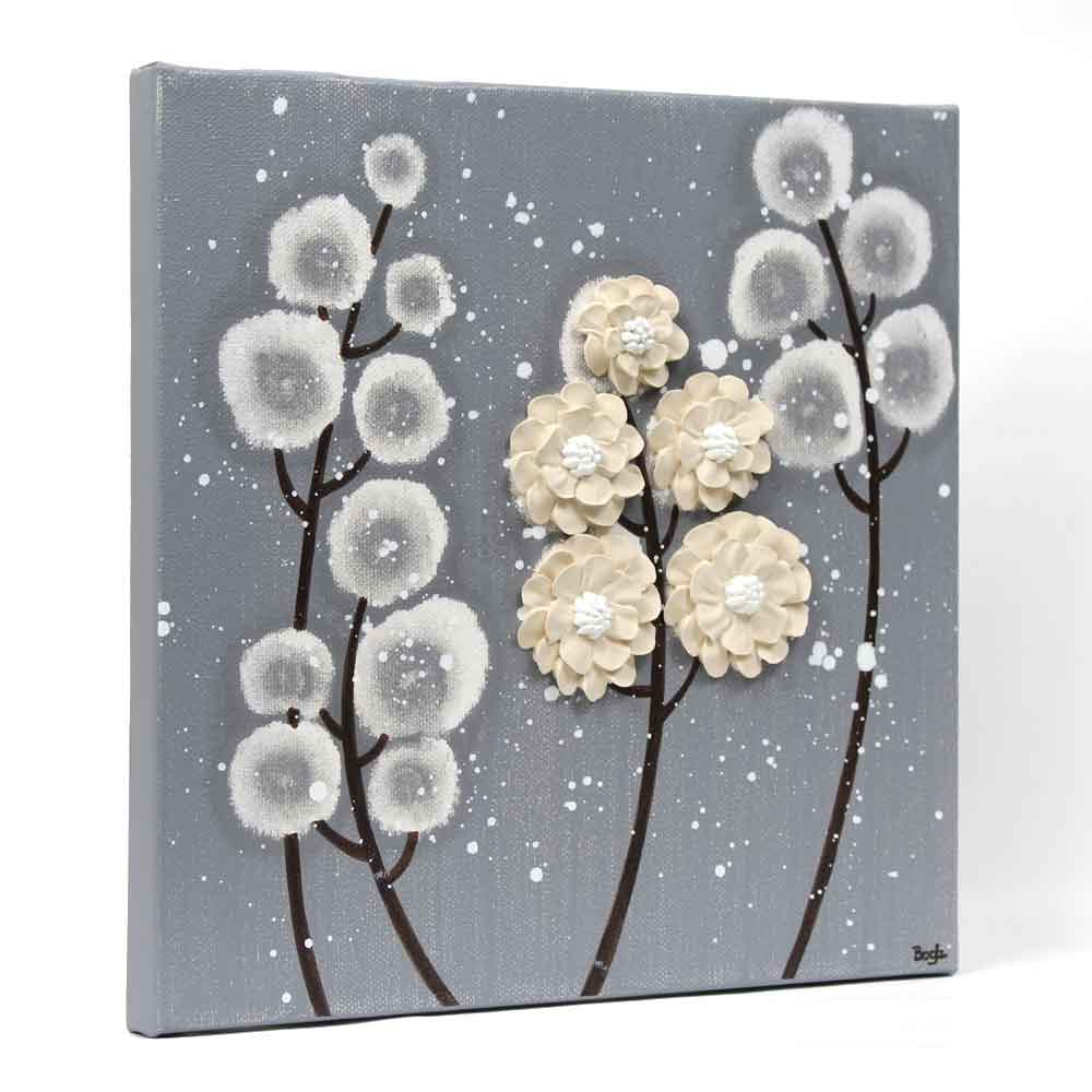 Side view of wall art feather gray and khaki wildflower