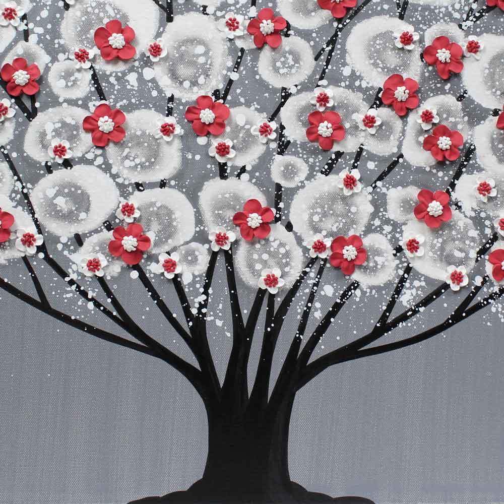 Center view of wall art feather gray and red blossom tree
