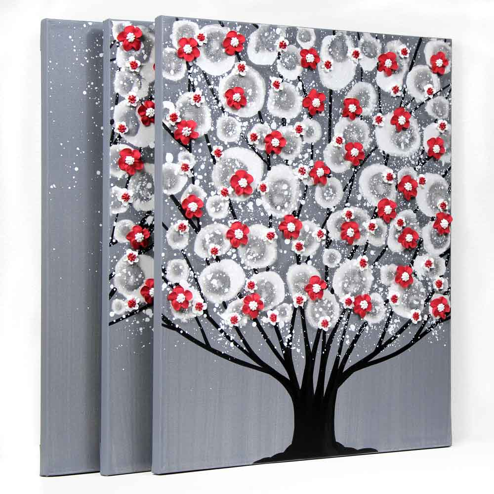 Side view of wall art feather gray and red blossom tree