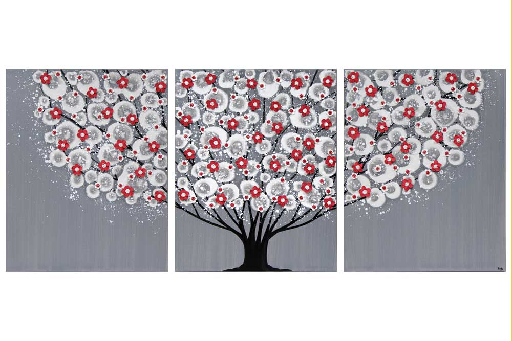Wall art feather gray and red blossom tree triptych